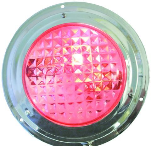 LED  Dome  Light - Stainless - Red / White